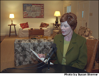 Laura Bush reads her Radio Address about Afghan from Prairie Chapel Ranch in Crawford, Texas. Mrs. Bush is the first First Lady to deliver an entire Presidential Radio Address. Photo by Susan Sterner.