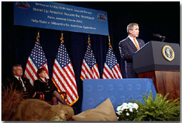 President George W. Bush addresses the Farm Journal Forum in Washington, D. C., Nov. 28, 2001. White House photo by Tina Hager.