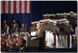"President George W. Bush speaks at The Citadel in Charleston, South Carolina, Dec. 11, 2001. ""When I committed U.S. forces to this battle, I had every confidence that they would be up to the task,"" said the President in his address to the military cadets. ""And they have proven me right."" White House photo by Tina Hager."