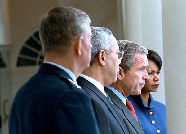 """Today, I have given formal notice to Russia, in accordance with the treaty, that the United States of America is withdrawing from this almost 30 year old treaty,"" said President George W. Bush announcing the withdrawal from the 1972 Anti Ballistic Missile treaty in the Rose Garden Dec. 13. Standing with the President are the Chairman of the Joint Chief of Staffs Richard B. Myers (far left), Secretary of State Colin Powell (left), and National Security Advisor Condoleezza Rice. White House photo by Eric Draper."