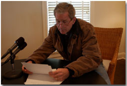 President George W. Bush delivers his weekly radio address to the nation from his ranch in Crawford, Texas, Friday Dec. 28, 2001. White House photo by Susan Sterner.