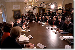 President George W. Bush meets with his Senior Advisors including Secretary of Treasury Paul O'Neill and Chairman of the Federal Reserve Board Alan Greenspan in the Cabinet Room Jan. 7. White House photo by Paul Morse.