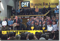 President George W. Bush addresses employees at Cecil I. Walker Machinery Co. in Charleston, WV, Jan. 22. White House photo by Tina Hager.