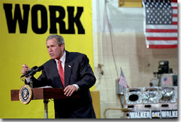 President George W. Bush addresses employees and media at Cecil I. Walker Machinery Co. in Charleston, WV, Jan. 22. White House photo by Tina Hager.