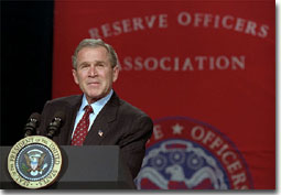President George W. Bush addresses the Reserve Officers Association during a luncheon in Washington, D. C. Jan 23.