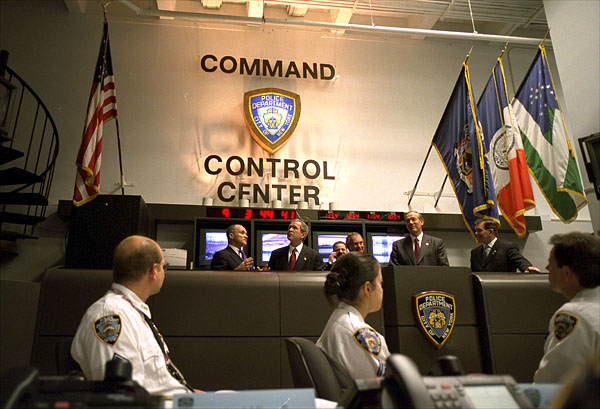 "President George W. Bush visits the New York City Command and Control Center Feb. 6, 2002. ""It is important that New York City be vibrant and strong,"" said the President during his visit. ""It's important when people not only here at home, but around the world, look at this fantastic city, they see economic vitality and growth. I'm confident we can recover together."" White House photo by Eric Draper."