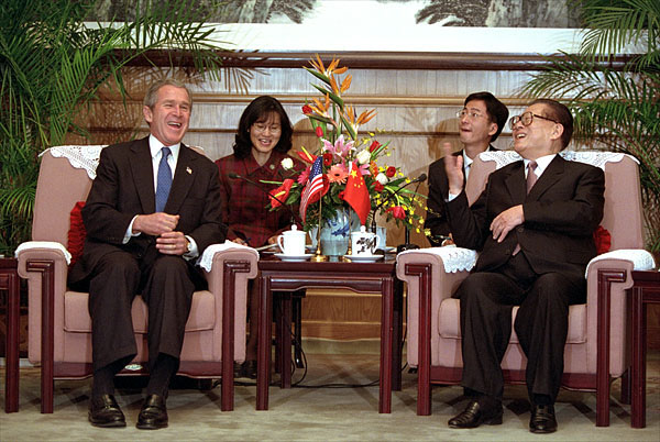 Bush Jr. and Jiang Zemin