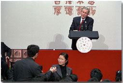 "President George W. Bush holds a town hall meeting with students at Tsinghua University in Beijing, People's Republic of China, Feb. 22. ""I want to thank the students for giving me the chance to meet with you, the chance to talk a little bit about my country and answer some of your questions,"" said the President. White House photo by Paul Morse."