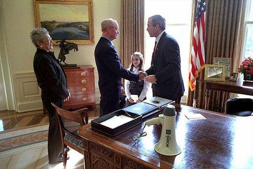 President Receives World Trade Center Bullhorn