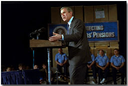 President George W. Bush discusses his retirement savings plans for America during a visit to Des Moines, Iowa, March 1.
