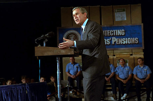 "President George W. Bush discusses his retirement savings plans for America during a visit to Des Moines, Iowa, March 1. ""The whole point is this, we ought to do everything we can in Washington, D.C., to encourage people to own a piece of the future,"" said the President. ""The more somebody owns something, the more somebody builds up an asset base, the better off America will be."" White House photo by Tina Hager."