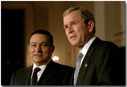 President George W. Bush and Egyptian President Mohammed Hosni Mubarak address the media in Cross Hall at the White House March 5.