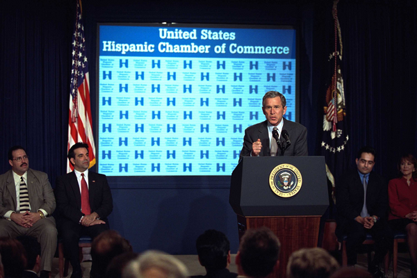 "President George W. Bush addresses the Hispanic Chamber of Commerce in the Presidential Hall at Dwight D. Eisenhower Executive Office Building March 6, 2002. ""I want everybody who wants to start their own business to feel comfortable in doing so, and have an opportunity to succeed in America,"" said President Bush. White House photo by Tina Hager."