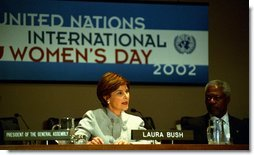 Mrs. Bush spoke about the importance of helping Afghan women and children in a speech to the United Nations, March 8, 2002. White House photo by Susan Sterner.