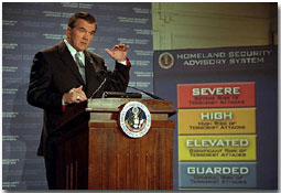 Director of Homeland Security Tom Ridge presents the Homeland Security Advisory System to the media at Constitution Hall in Washington, D.C, March 12.