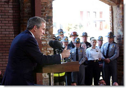 President George W. Bush speaks during his visit with first responders, including rural police and fire officials, in Greenville, South Carolina, Wednesday, March 27. White House photo by Eric Draper.