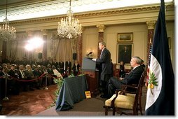 President George W. Bush discusses the Trade Promotion Authority in the Benjamin Franklin Room at the Department of State Thursday, April 4.