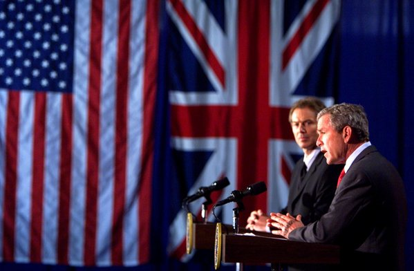 President George W. Bush appears with British Prime Minister Tony Blair at a press conference at Crawford High School in Crawford, Texas on April 6, 2002. White House Photo by Paul Morse.