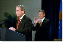 President George W. Bush discusses rights of people who are victims of crime during an address at the Robert F. Kennedy Department of Justice Tuesday, April 16.