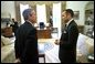 "President George W. Bush talks with His Majesty King Mohammed VI of Morocco in the Oval Office Tuesday, April 23. ""Today, I've informed His Majesty that our government will work to enact a free trade agreement with Morocco,"" said the President to the media. ""Trade is an important part of good foreign policy, it's an important part of making sure Americans can find jobs."" White House photo by Eric Draper."