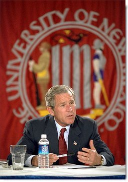 "President George W. Bush discusses mental health care during a roundtable discussion at the University of New Mexico's Continuing Education Conference Center in Albuquerque, New Mexico, April 29. ""Our country must make a commitment: Americans with mental illness deserve our understanding, and they deserve excellent care,"" said the President. ""They deserve a health care system that treats their illness with the same urgency as a physical illness."" White House photo by Eric Draper."
