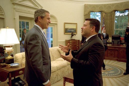 President George W. Bush meets with His Majesty King Abdullah of the Hashemite Kingdom of Jordan in the Oval Office Wednesday, May 8.