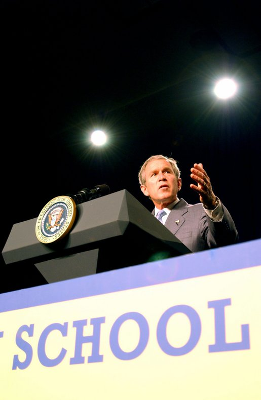 President Bush delivers remarks on Reading and Teacher Quality at Rufus King High School in Milwaukee, Wisconsin May 9, 2002. White House photo by Tina Hager.