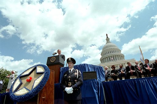 President George W. Bush addresses the 21st Annual Peace Officers' Association Memorial Service at the United States Capitol Wednesday, May 15.