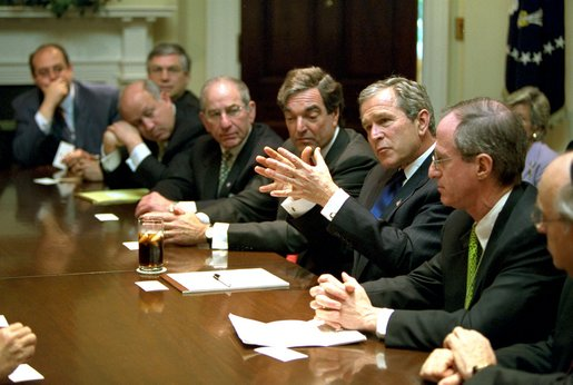 President George W. Bush meets with members of the United Jewish Communities in the Roosevelt Room, May 15, 2002. White House photo by Paul Morse.