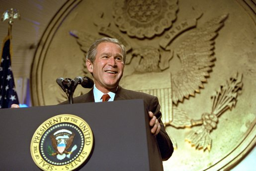 "President George W. Bush addresses the Hispanic National Prayer Breakfast in Washington, D.C., May 16, 2002. ""We have never imposed any religion, and that's really important to remember, too,"" said the President. ""We welcome all religions in America, all religions. We honor diversity in this country. We respect people's deep convictions."" White House photo by Paul Morse."