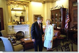 "President George W. Bush talks privately with former First Lady Nancy Reagan before attending a ceremony in which Congress awarded her and former President Ronald Reagan with the Congressional Gold Medal at the United States Capitol Thursday, May 16. ""At every step of an amazing life, Nancy Reagan has been at Ronald Reagan's side,"" said the President in his remarks. ""Right by his side. As his optimism inspired us, her love and devotion strengthened him."" White House photo by Tina Hager."
