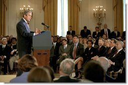 "President George W. Bush announces an initiative for a new Cuba Policy in the East Room Monday, May 20. ""If Cuba's government takes all the necessary steps to ensure that the 2003 elections are certifiably free and fair -- certifiably free and fair -- and if Cuba also begins to adopt meaningful market-based reforms, then -- and only then -- I will work with the United States Congress to ease the ban on trade and travel between our two countries,"" said the President. White House photo by Tina Hager."