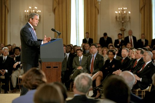 "President George W. Bush announces an initiative for a new Cuba Policy in the East Room Monday, May 20. ""If Cuba's government takes all the necessary steps to ensure that the 2003 elections are certifiably free and fair -- certifiably free and fair -- and if Cuba also begins to adopt meaningful market-based reforms, then -- and only then -- I will work with the United States Congress to ease the ban on trade and travel between our two countries,"" said the President. White House photo by Tina Hager"