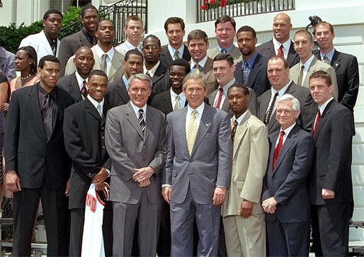 President George W. Bush poses with NCAA champions, the University of Maryland's men's basketball team on the South Lawn May 21. White House photo by Tina Hager.