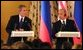 President George W. Bush and Russian President Vladimir Putin during their press conference at the Kremlin in Moscow, Russia on May 24, 2002.