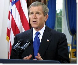 President George W. Bush address the nation from the White House on his intention to create a cabinet level position for Office of Homeland Security on Thursday June 6, 2002. White House photo by Paul Morse.