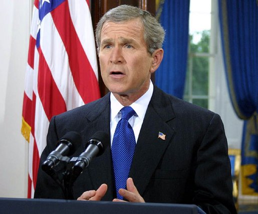 President George W. Bush addresses the nation from the White House on his intention to create a cabinet level position for Office of Homeland Security on Thursday June 6, 2002. White House photo by Paul Morse.