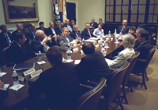 President George W. Bush meets with his Homeland Security Council and other senior staff members to discuss the Department of Homeland Security. The meeting took place in the Roosevelt Room of the White House Thursday morning, June 6, 2002. White House photo by Tina Hager.