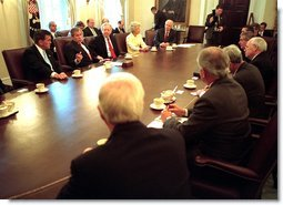 President Bush meets with bipartisan members of Congress to discuss the Department of Homeland Security Friday morning, June 7, 2002 in the Cabinet Room of the White House. White House photo by Eric Draper.