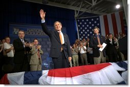 President George W. Bush addresses the World Pork Expo in Des Moines, Iowa, Friday, June 7, 2002. White House photo by Eric Draper.