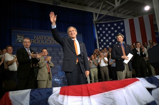 President George W. Bush addresses the World Pork Expo in Des Moines, Iowa, Friday, June 7, 2002.