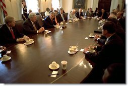 President George W. Bush discusses Homeland Security issues with a bi-partisan group of Congressmen in the Cabinet Room June 11.