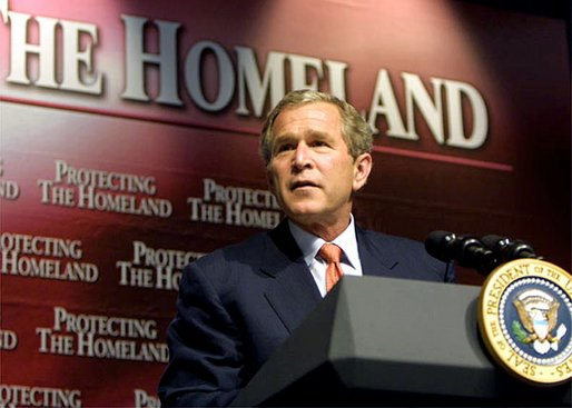President George W. Bush discusses his plan to transform the office of Homeland Security into a Cabinet agency at Oak Park High School in Kansas City, Mo., Tuesday, June 11.