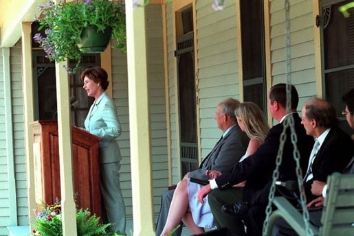 Mrs. Bush speaks during the dedication ceremony of the Katherine Anne Porter Literacy Center in Tyler, Texas, June 13, 2002. White House photo by Tina Hager