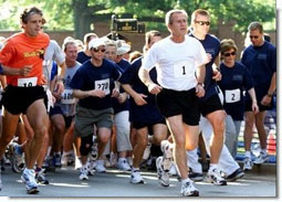 President George W. Bush competes in the 3 mile run.