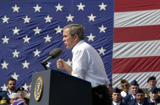 President George W. Bush gives remarks during