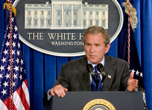 President George W. Bush conducts a press conference in the James S. Brady Briefing Room at the White House Monday, July 8. White House photo by Paul Morse.