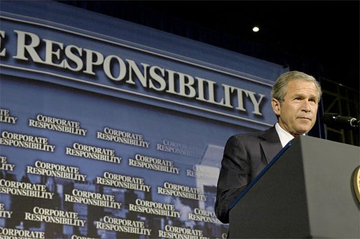 President George W. Bush addresses corporate leaders on Wall Street in New York, Tuesday, July 09. The President, who unveiled plans to create a new Corporate Fraud Task Force, introduced criminal penalties for corporate fraud and fund new initiatives in the SEC that will provide accountability to corporate America. White House photo by Eric Draper.