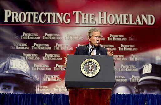 "President George W. Bush discusses the creation of the Department of Homeland Security with federal workers at DAR Constitution Hall in Washington, D.C., Wednesday, July 10. ""I'm here to thank each one of you for your dedication to the country we all love. You worked hard prior to September the 11th; you're working really hard now,"" said the President. ""And the American people appreciate it a lot, and so do I."" White House photo by Paul Morse."