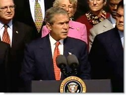 President Bush today released the first National Strategy for Homeland Security. The purpose of the Strategy is to mobilize and organize our Nation to secure the U.S. homeland from terrorist attacks. Video screen capture by Monty Haymes.
